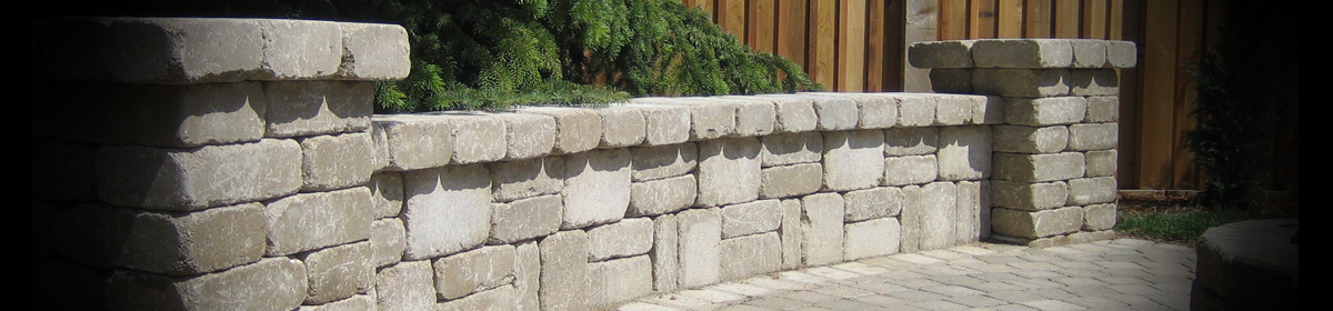 Retaining walls concrete wall blocks and systems quarry for Landscape rock quarry alberta