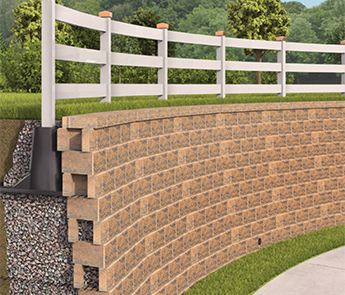 the design ensures load transfer from the fence structure to the reinforced soil and away from the block face of the srw segmental retaining wall